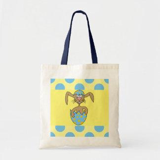 Cartoon Bunny in Egg Blue Polka Dots Kids Bag