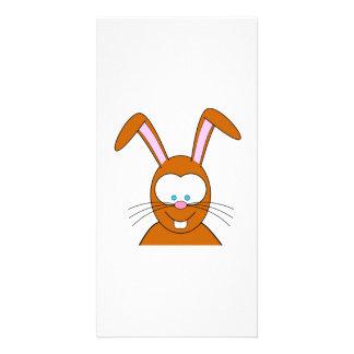Cartoon Bunny Rabbit Face Photo Card