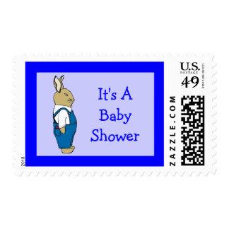 Cartoon Bunny Rabbit In Overalls Baby Boy Shower Stamps