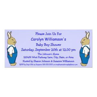 Cartoon Bunny Rabbit in Overalls Boy Baby Shower 4x9.25 Paper Invitation Card