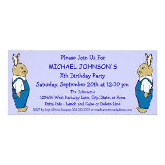 Cartoon Bunny Rabbit in Overalls Boy's Birthday Card