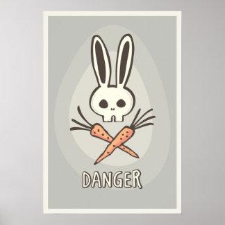 Cartoon Bunny Skull and Crossbones Funny Poster