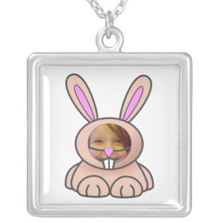 Cartoon Bunny Suit Photo Template Silver Plated Necklace