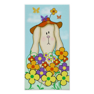 Cartoon Bunny with Flowers Poster