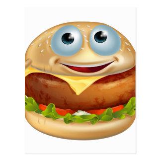 Cartoon burger man post card