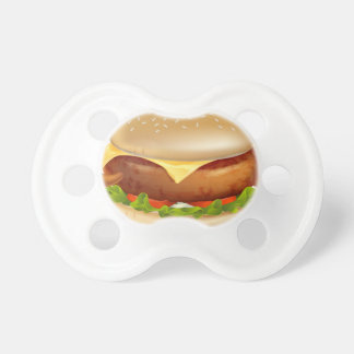 Cartoon burger mascot pacifier