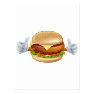 Cartoon burger mascot postcard
