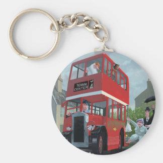 cartoon bus stop queue basic round button keychain