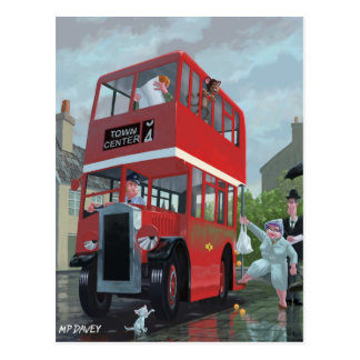 cartoon bus stop queue postcard