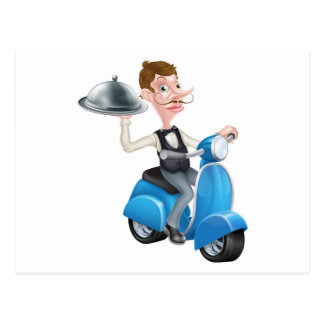 Cartoon Butler on Scooter Moped Delivering Food Postcard