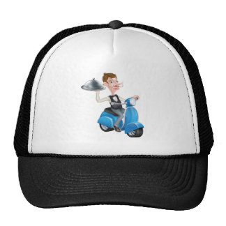 Cartoon Butler on Scooter Moped Delivering Food Trucker Hat