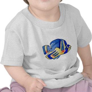 Cartoon Butterfly Blue Fish T Shirt