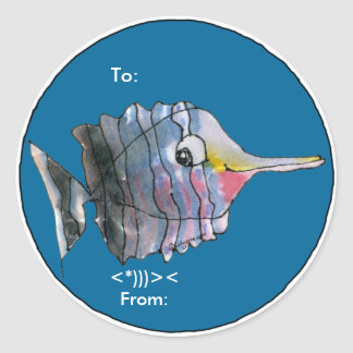Cartoon Butterfly Fish Personalized Labels Classic Round Sticker