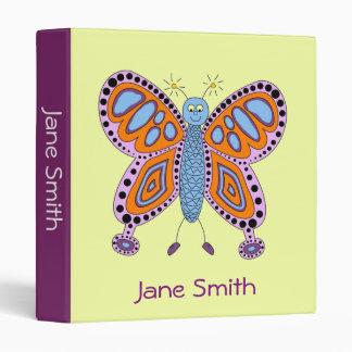Cartoon butterfly girly cute art student folder 3 ring binder