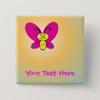 Cartoon Butterfly Pinback Button