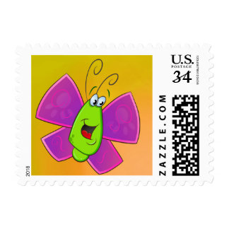 Cartoon butterfly stamp