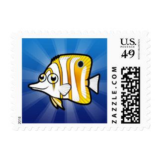 Cartoon Butterflyfish Postage Stamp