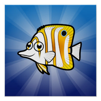 Cartoon Butterflyfish Poster