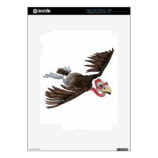 Cartoon Buzzard Flying Seen from Above Decals For iPad 2