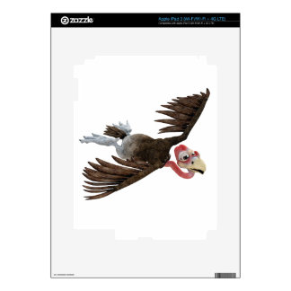 Cartoon Buzzard Flying Seen from Above Skins For iPad 3