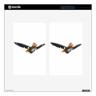 Cartoon Buzzard Flying Seen from Below Decals For Kindle Fire