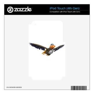 Cartoon Buzzard Flying Seen from Below Skins For iPod Touch 4G