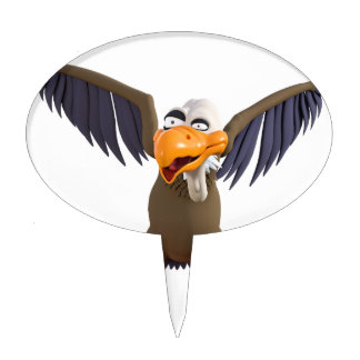 Cartoon Buzzard Walking with His Wings Up Cake Topper