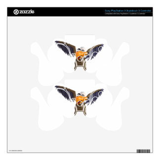 Cartoon Buzzard Walking with His Wings Up Decal For PS3 Controller