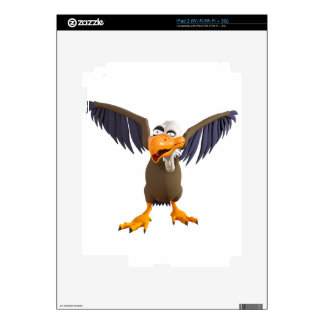 Cartoon Buzzard Walking with His Wings Up iPad 2 Skins