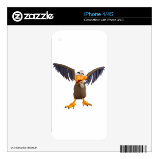 Cartoon Buzzard Walking with His Wings Up Skin For iPhone 4