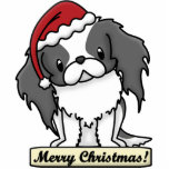 Cartoon BW Japanese Chin Christmas Ornament Cut Out