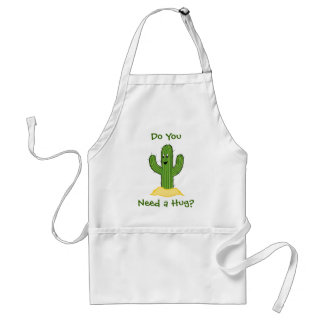 Cartoon Cactus Guy (Do You Need A Hug?) Adult Apron
