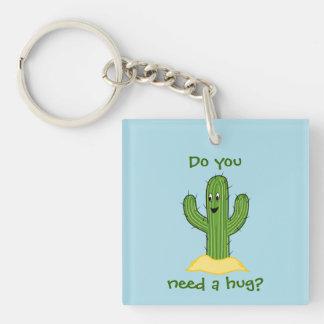 Cartoon Cactus Guy (Do You Need A Hug?) Keychain