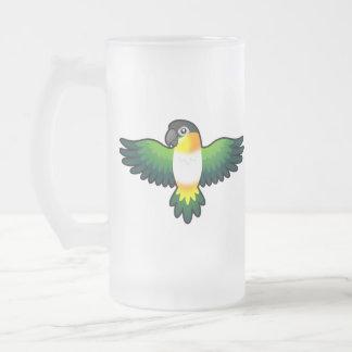 Cartoon Caique / Lovebird / Pionus / Parrot Frosted Glass Beer Mug