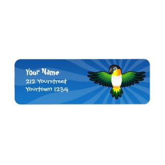 Cartoon Caique / Lovebird / Pionus / Parrot Return Address Label