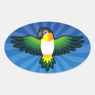 Cartoon Caique / Lovebird / Pionus / Parrot Oval Sticker