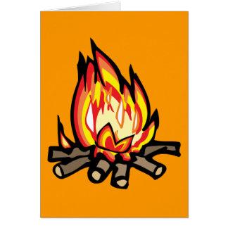 Cartoon Campfire fire burning oranges yellows Card