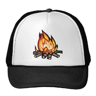 Cartoon Campfire fire burning oranges yellows Trucker Hat