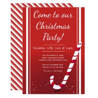 Cartoon Candy Cane | Christmas Party Invitation