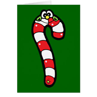 Cartoon Candy Cane with Smiling Face Greeting Cards