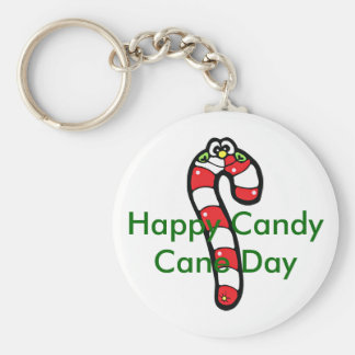 Cartoon Candy Cane with Smiling Face Keychain