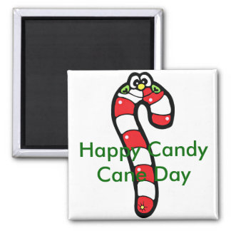 Cartoon Candy Cane with Smiling Face 2 Inch Square Magnet