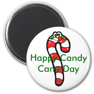 Cartoon Candy Cane with Smiling Face 2 Inch Round Magnet
