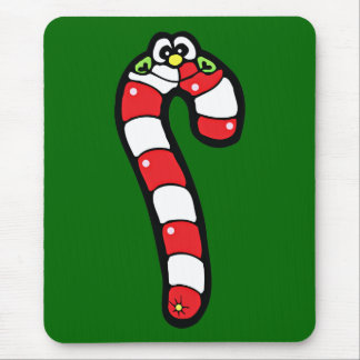 Cartoon Candy Cane with Smiling Face Mouse Pad