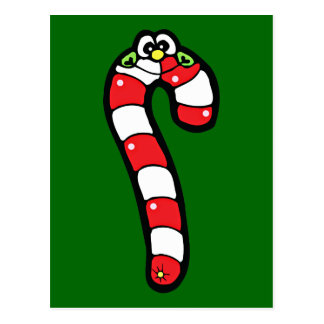 Cartoon Candy Cane with Smiling Face Postcards