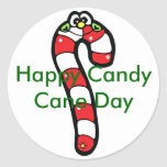 Cartoon Candy Cane with Smiling Face Classic Round Sticker