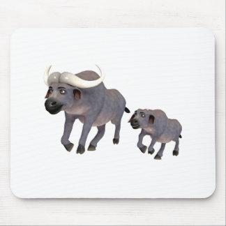 Cartoon Cape Buffalo Father & Son Mouse Pad