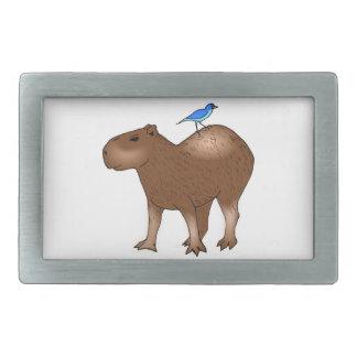 Cartoon Capybara with Blue Bird on Its Back Belt Buckles