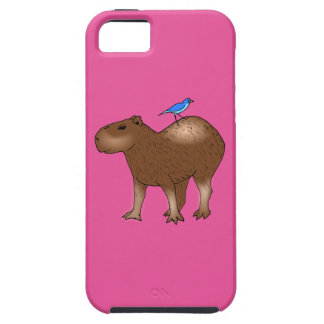 Cartoon Capybara with Blue Bird on Its Back Cover For iPhone 5/5S