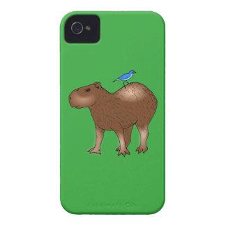 Cartoon Capybara with Blue Bird on Its Back iPhone 4 Case